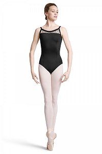 Bloch Lace-Up Front Panel Wide Strap Camisole Leotard